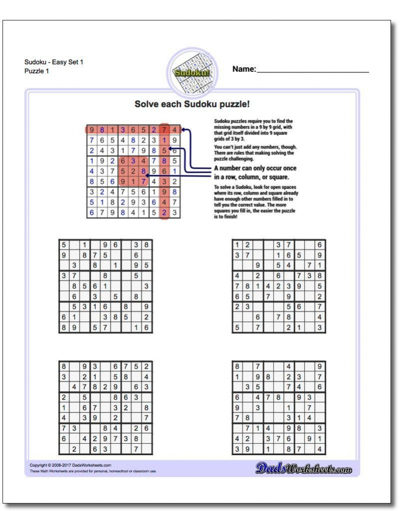 These Printable Sudoku Puzzles Range From Easy To Hard, Including | Printable Sudoku Worksheets Pdf