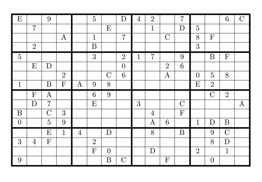Tirpidz's Sudoku: #454 Classic Sudoku 16 X 16 | Printable Sudoku With X